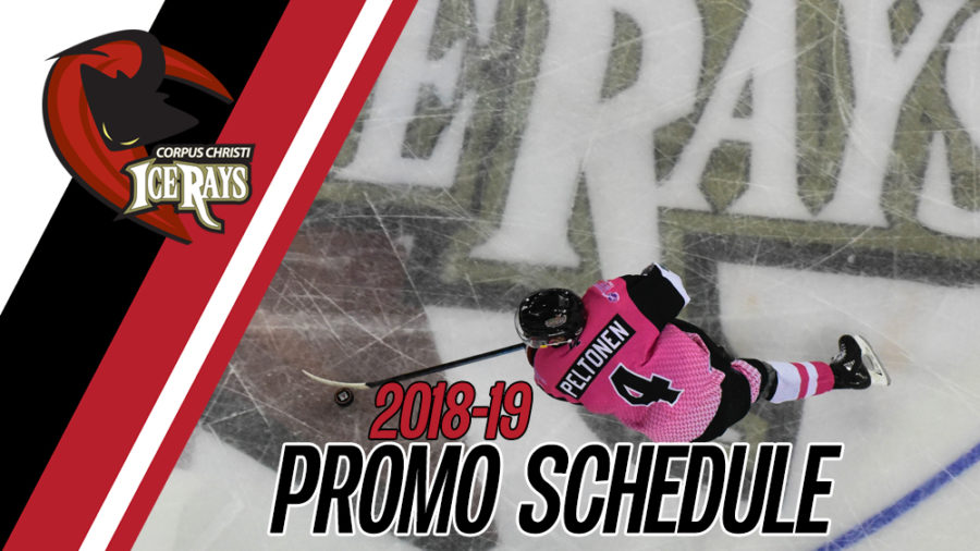 ICERAYS ANNOUNCE 2018-19 PROMOTIONAL SCHEDULE